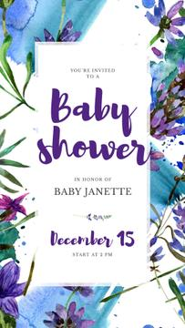 Baby Shower Invitation Watercolor Flowers in Blue
