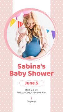 Baby Shower Invitation Happy Pregnant Woman