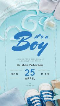 Baby Shower Invitation Kids Stuff in Blue
