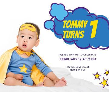Baby Birthday Invitation Boy in Superhero Costume