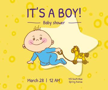 Baby Shower Invitation Adorable Child with Toy