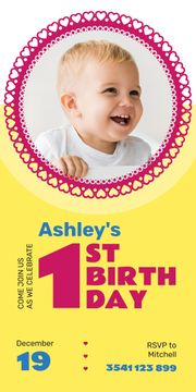 Baby Birthday Invitation Adorable Child in Frame