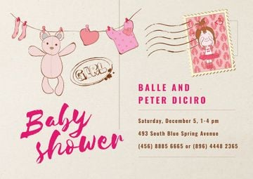 Baby Shower Invitation Hanging Toys in Pink