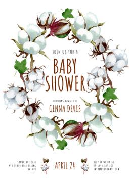 Baby Shower Invitation Cotton Flowers Wreath