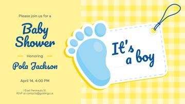 Baby Shower invitation with Foot and Tag