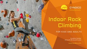 Climbing Park Ad with Climber on a Wall