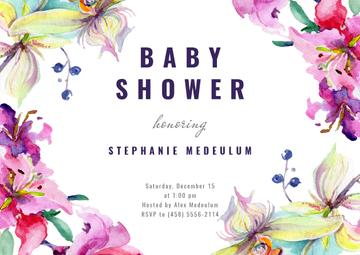 Baby Shower Invitation Watercolor Flowers Frame
