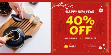 New Year Offer with Woman Brewing Tea