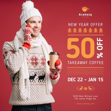 New Year Offer Man with Takeaway Coffee