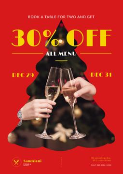 New Year Dinner Offer with People Toasting with Champagne