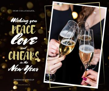 New Year Greeting People Toasting with Champagne