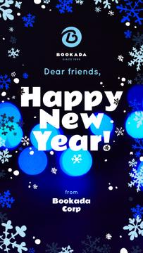 New Year Greeting Snowflakes and Bokeh in Blue
