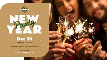 New Year Party invitation people toasting with Champagne
