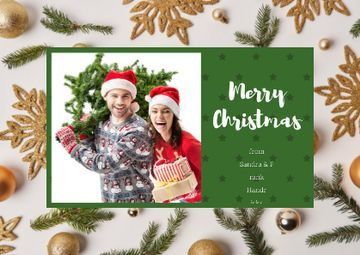 Merry Christmas Greeting with Couple with Fir Tree
