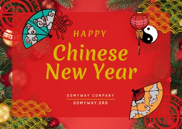 Chinese New Year Greeting Asian Symbols