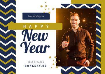 New Year Greeting Man with Champagne