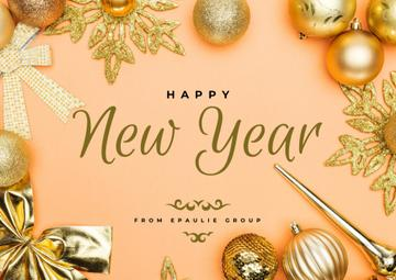 New Year Greeting in Golden Decorations