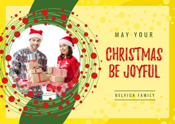 Merry Christmas Greeting Couple with Presents