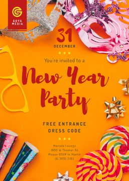 New Year Party Invitation Shiny Decorations