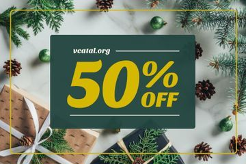 Holidays Sale with Gifts and Fir Tree