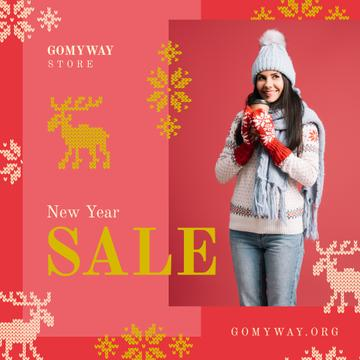 New Year Sale Woman with Takeaway Coffee