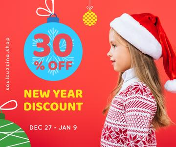 New Year Offer Child Girl in Santa Hat