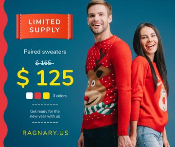 New Year Offer Couple in Sweaters with Deer