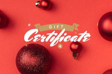 Christmas Gift Offer with Shiny Red Baubles