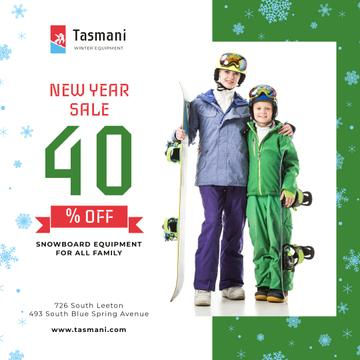 New Year Sale Offer Kids with Snowboards