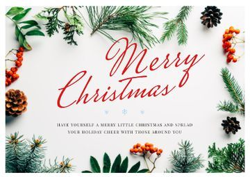 Merry Christmas Greeting in Floral Frame