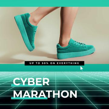 Cyber Monday Sale with Sneakers in Turquoise