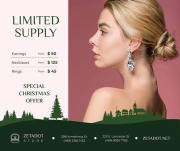 Christmas Offer Woman in Earrings with Diamonds