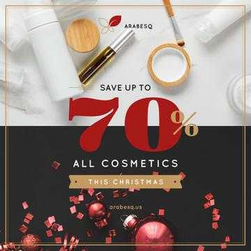 Christmas Cosmetics Sale with Red Decorations