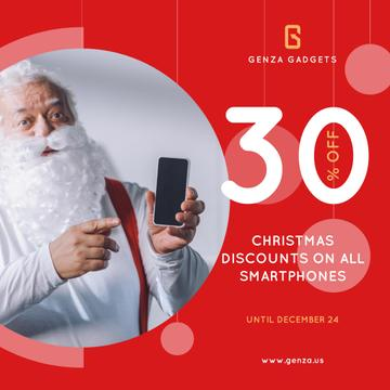 Christmas Discount Santa Holding Smartphone