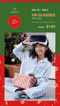 Christmas Sale Girl with Gift in VR Glasses