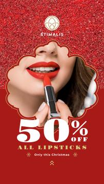 Cosmetics Christmas Sale Woman Applying Lipstick