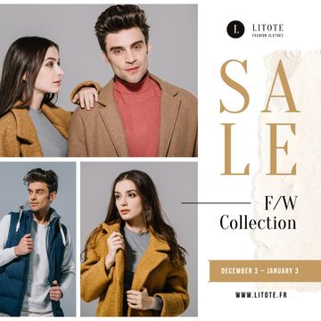 Fashion Sale Ad Stylish Couple in Winter Clothes