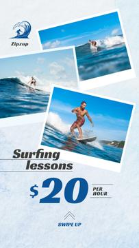 Surfing Lessons Ad Man Riding Big Wave in Blue