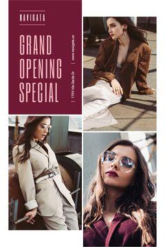 Fashion Store Grand Opening Announcement Stylish Woman