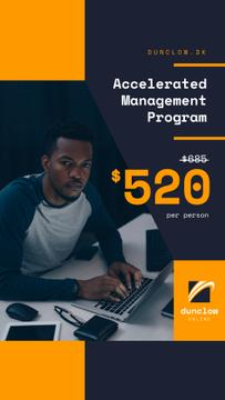 Business Courses Ad Man Working on Laptop