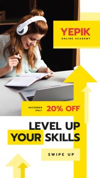 Online Courses Ad Woman Working by Laptop