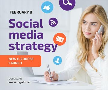Social Media Course Woman with Notebook and Smartphone