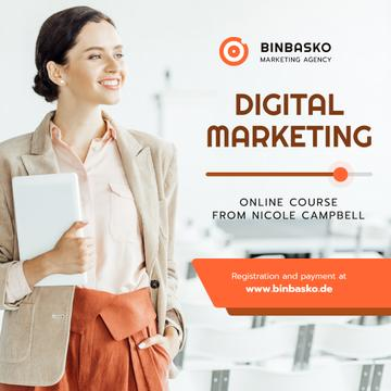 Marketing Courses Woman with Laptop