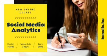 Social Media Course Promotion Woman with Notebook and Smartphone