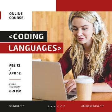 IT Courses Announcement Woman Working on Laptop