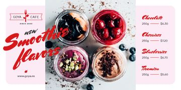 Cafe Offer with Jars with Fresh Smoothies