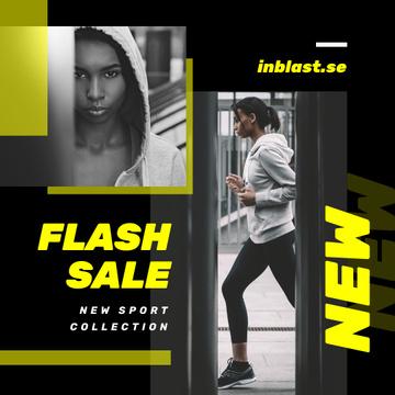 Sports Equipment Sale Girl Running in City