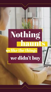 Consumerism Quote Woman Shopping Online