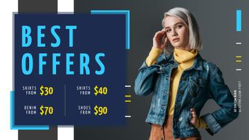 Store Offer Stylish Woman in Warm Clothes