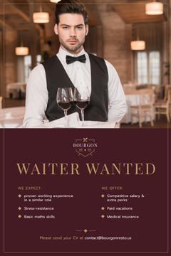 Waiter Wanted Announcement with Man Serving Wine